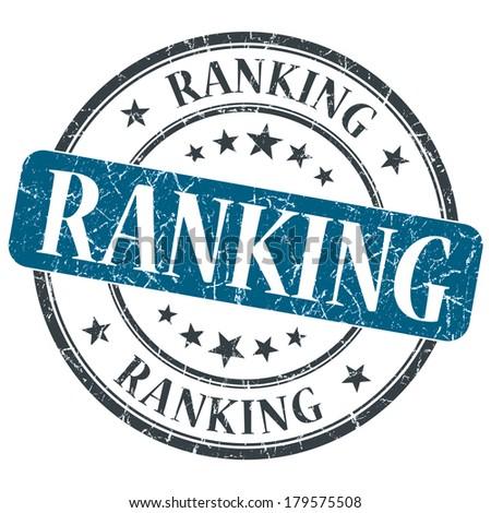 Ranking blue grunge round stamp on white background - stock photo