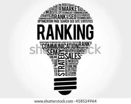 RANKING bulb word cloud, business concept - stock photo