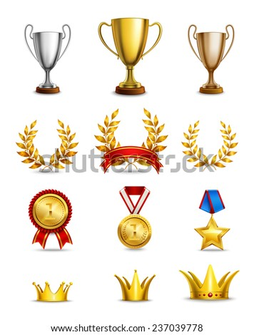 Ranking icons set of different size awards and medals isolated  illustration