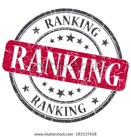 Ranking red grunge round stamp on white background - stock photo