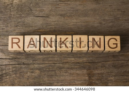 RANKING text on a wooden background - stock photo