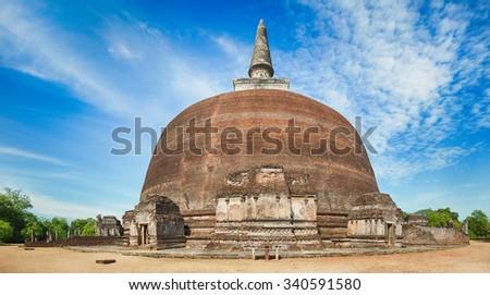 Rankoth Vehera in the world heritage city Polonnaruwa, Sri Lanka. Panorama - stock photo