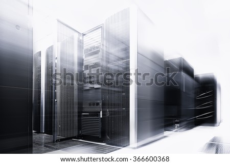ranks modern supercomputers in computational data center with motion black and white - stock photo