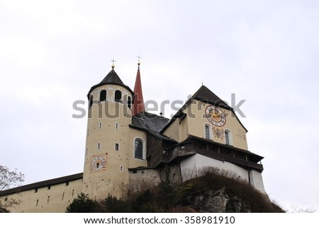 Rankweil church basilica in Rankweil, Vorarlberg, Austria. It was build on a 50 rocky terrain in circa AD 700. - stock photo