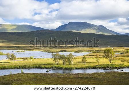 Rannoch Moor at Loch Ba in the Scottish highlands - stock photo