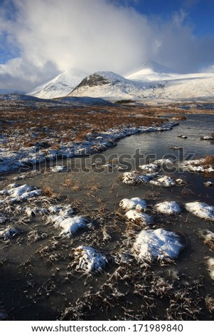 Rannoch Moor in winter. - stock photo
