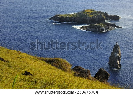 Rano Kau volcano, Easter Island, Chile - stock photo