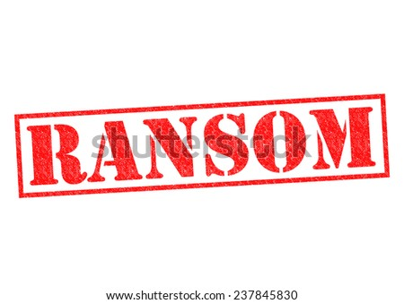 RANSOM red Rubber Stamp over a white background. - stock photo