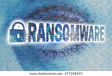 Ransomware eye with matrix looks at viewer concept.