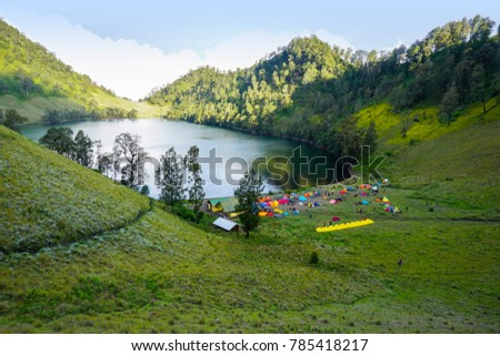 ranu kumbolo camp site early morning