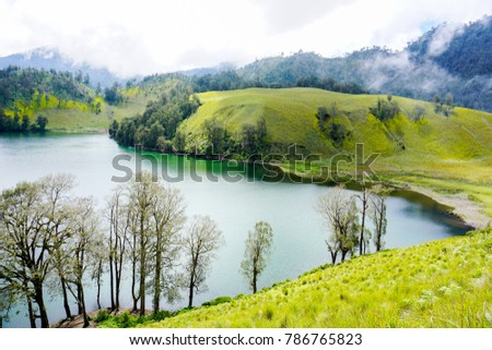Ranu Kumbolo lake and morning fog