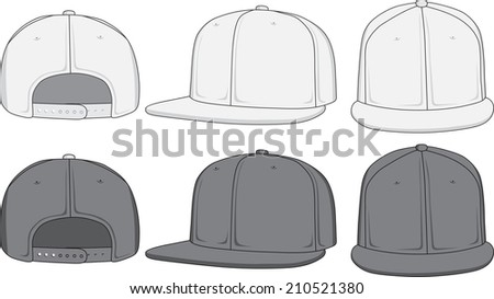 Rap cap, front, back and side view. Raster version - stock photo