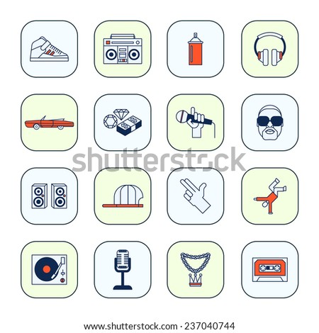 Rap music icons set with sneakers boombox headphones isolated  illustration