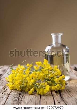 Rape flower on wooden table - stock photo