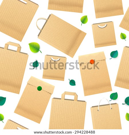 Raper Bag Ecology Seamless Pattern with Green Leaves. Recycle brown paper bag - stock photo