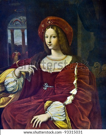 "Raphael (Raffaello Santi) (1483 - 1520) ""Joanna of Aragon"". Reproduction from illustrated Encyclopedia «Art galleries of Europe», Partnership «M. O. Wolf», St. Petersburg - Moscow, Russia , 1901"