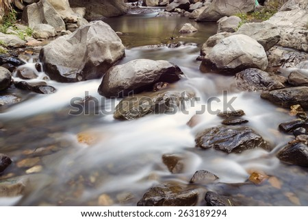 Rapid cascade of river full of stone and rock - stock photo