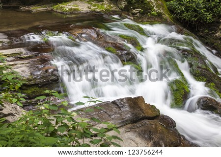Rapids and waterfalls with lichen covered rocks on Laurel Creek near Cades Cove in the Great Smoky Mountain National Park on the Tennessee, USA, side of the park.
