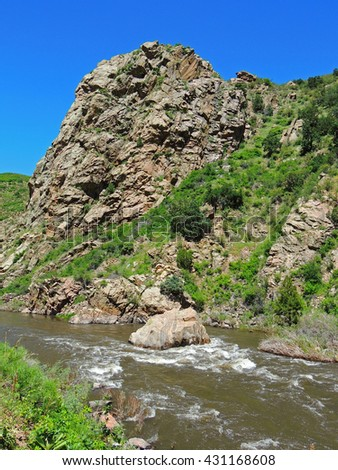 rapids  in the south platte river in  waterton canyon, littleton,  colorado - stock photo