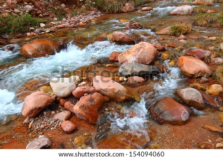 Rapids of Bright Angel Creek in Grand Canyon National Park - stock photo