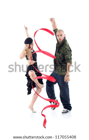 Rapper with ribbon and gymnast girl in black hat dance isolated on white background. - stock photo