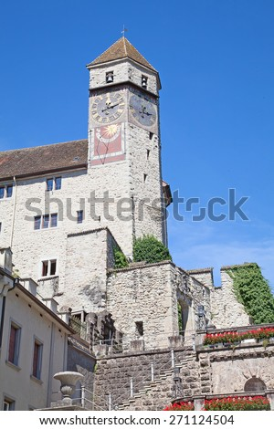 Rapperswil - historical city on the lake Zurich, Switzerland - stock photo