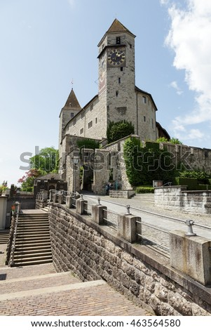 RAPPERSWIL, SWITZERLAND - MAY 10, 2016: The Castle on a hill built in the early 13th century. The castle became the seat of the Polish National Museum since 1870