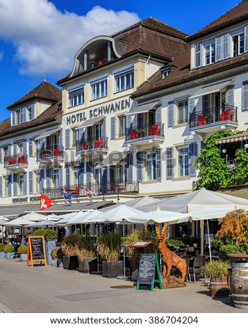 Rapperswil, Switzerland - 7 September, 2015: facade of the Hotel Schwanen building. Hotel Schwanen is housed in a historic building offering views on Lake Zurich and the old town of Rapperswil.