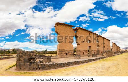 Raqchi, Inca archaeological site in Cusco, Peru (Ruin of Temple of Wiracocha) at Chacha,South America - stock photo