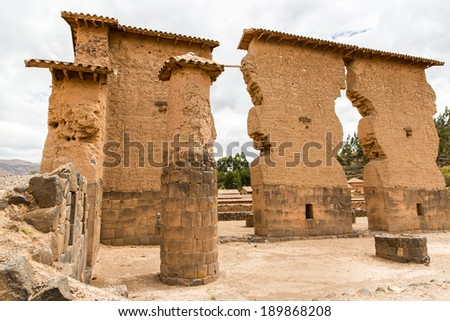 Raqchi, Inca archaeological site in Cusco, Peru  Ruin of Temple of Wiracocha  at Chacha,South America - stock photo