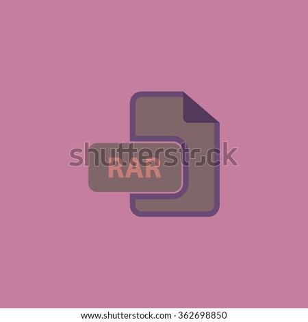 RAR file format. Simple flat color icon on colorful background - stock photo