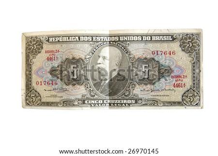 Rare Brazilian cruzeiro real bills isolated on white. - stock photo