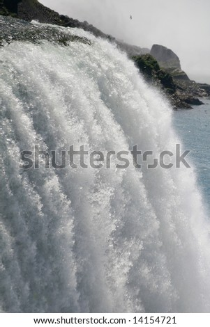 Rare close up detail of Niagara Falls (American falls) shot from the Prospect Point, fast shutter speed to freeze the motion - stock photo