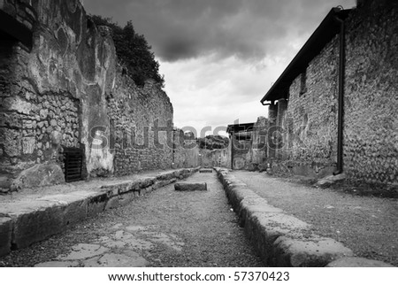 rare, empty street in Pompeii, Italy, black and white - stock photo