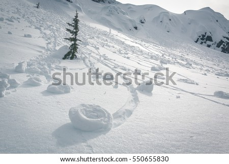 Rare meteorological phenomena of snow rolled downhill