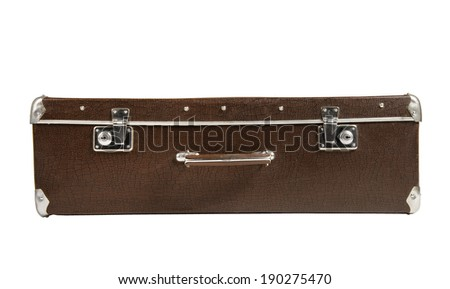 rarity brown leather suitcase in the lying position, on white background; isolated - stock photo