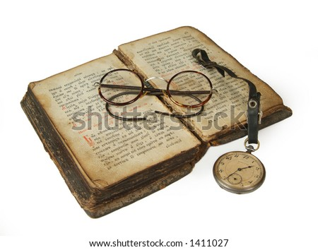 rarity, curio, curiosity, antique, horn spectacles, book,  volume, glasses, pocket watch,