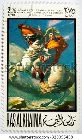 "RAS AL KHAIMA - CIRCA 1969: a stamp printed by RAS AL KHAIMA shows a picture of artist Jacque Lui David ""transition Bonaparte's through pass Saint Bernard"", circa 1969 - stock photo"