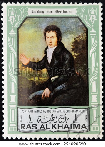RAS AL KHAIMA - CIRCA 1970 : A stamp printed in Ras Al Khaima shows Ludwig van Beethoven (1770-1827), circa 1970 - stock photo