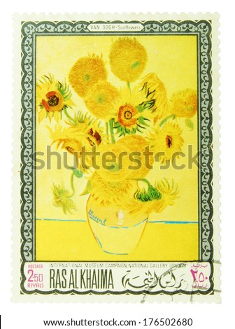 """Ras al-Khaimah - CIRCA 1960 to 1970: postage stamp depicting """"Sunflowers"""" - painting by Vincent van Gogh, CIRCA 1960 to 1970 - stock photo"""