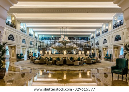 RAS Al KHAIMAH, UAE - SEPTEMBER 6, 2015: Interior of luxury 5 stars DoubleTree by Hilton Hotel Resort and Spa Marjan Island. RAK.