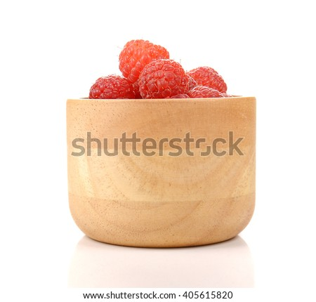 Rasberry , Red Berry , Wooden Cup isolated on white background. - stock photo