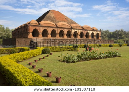 Rasmancha - Oldest brick structure. Built in 1587 by Bir Hambir is a pyramidal structure in the centre of the town - Bishnupur, India - stock photo
