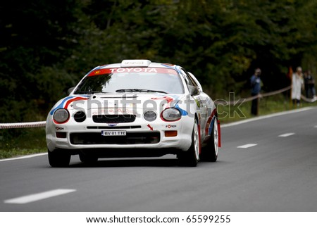 RASNOV, ROMANIA - OCT 1: Graef Gunther drives a Toyota Celica car during Rally of Romania 2010 championship on October 1, 2010 in Rasno, Romania
