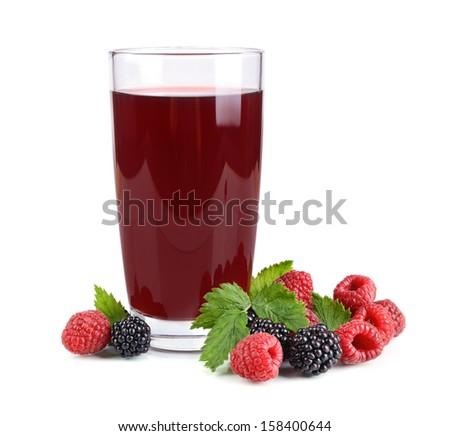 Raspberries and blackberries juice and fresh berries on white background - stock photo