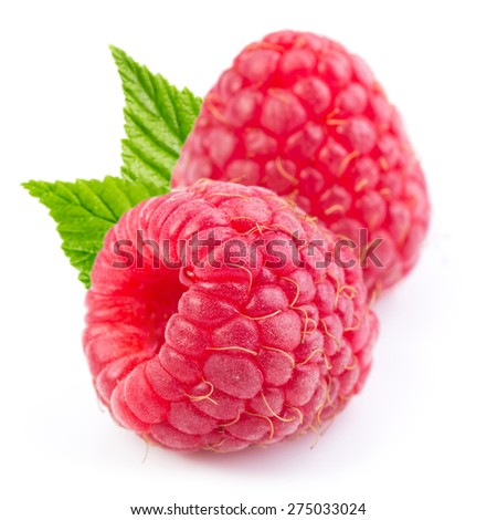 raspberries isolated on white background  - stock photo