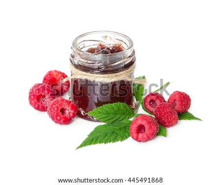 Raspberries jam in glass jar and berries isolated on white background. - stock photo