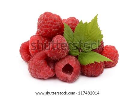 Raspberries on a white background - stock photo