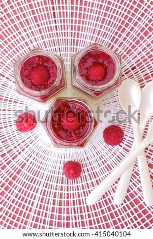 Raspberries Panna Cotta - stock photo