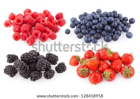 raspberries, strawberries, blueberries and blackberries - stock photo